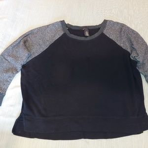 DKNY JEANS Pullover Sweatshirt, Black with Gray XL